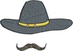Cavalry Hat & Mustache embroidery design