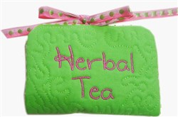 ITH Herbal Tea Bag Holder with Spoon embroidery design