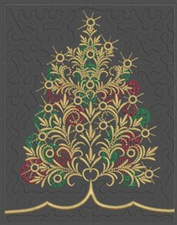 Twinkling Lights Christmas Tree Quilt Block embroidery design