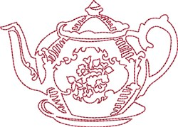 Tea Time Redwork embroidery design