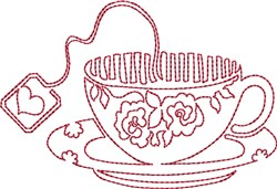 Tea Cup Redwork embroidery design
