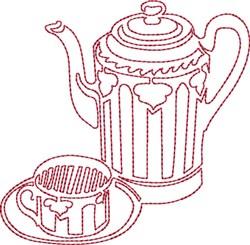 Pretty Tea Set Redwork embroidery design