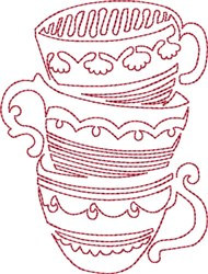 Stacked Tea Cup Redwork embroidery design