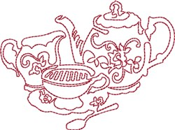 Tea Service Redwork embroidery design