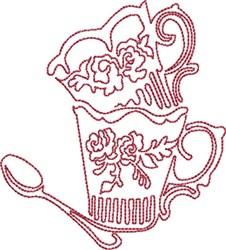 Tea Mugs Redwok embroidery design