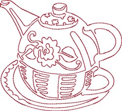 Round Pot Redwork embroidery design