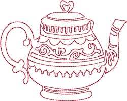 English Tea Redwork embroidery design