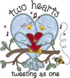 Two Hearts Tweeting Applique embroidery design