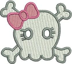 Little Girls Rock Skull embroidery design