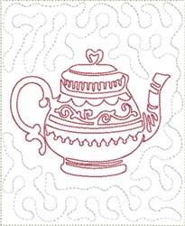 English Tea Mug Mat Block embroidery design