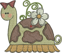 Girl Turtle With Flower embroidery design