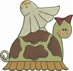 Girl Turtle With Mushroom embroidery design