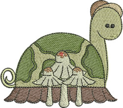 Turtle With Mushrooms embroidery design