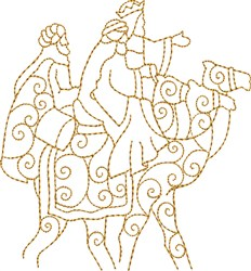 Three Kings on Camels embroidery design