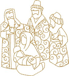 Three Wisemen with Mary embroidery design