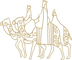 Three Kings Riding Camels embroidery design