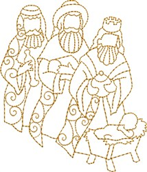 Wisemen Gifting Baby Jesus embroidery design