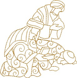Three Wisemen Bowing embroidery design