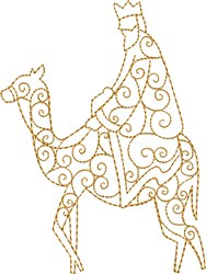 Single King on Camel embroidery design
