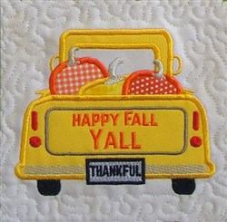 ITH Vintage Fall Truck Quilt Block 2 embroidery design