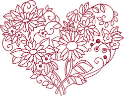 Redwork Daisies Heart embroidery design