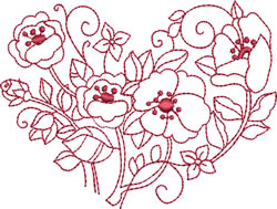 Redwork Poppies Heart embroidery design