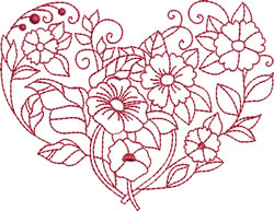 Morning Glories Heart embroidery design