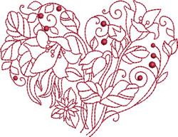 Vintage Flower Heart embroidery design