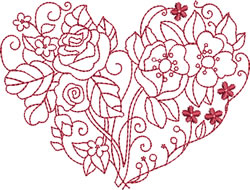 Poppies & Roses Heart embroidery design