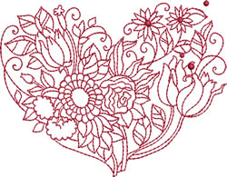 Tulip Bouquet Heart embroidery design
