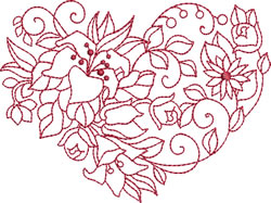 Lilies & Daisies Heart embroidery design