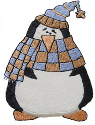 Checked Scarf Penguin Applique embroidery design