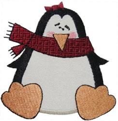 Baby Girl Penguin Applique embroidery design