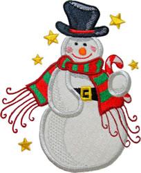 Applique Snowman Stars embroidery design