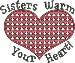 Sisters Warm Your Heart embroidery design