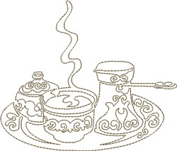 Coffee Set Block embroidery design