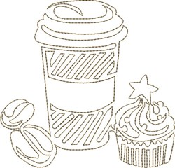 Coffee & Cupcake embroidery design