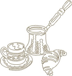 Coffee & Croissant embroidery design