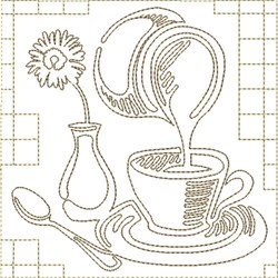 Coffee and Creamer embroidery design