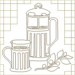 Coffee  work Quilt Block embroidery design