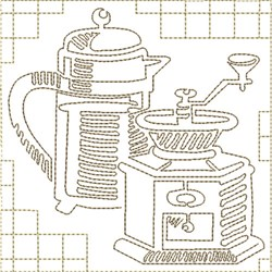 Coffee and Grinder embroidery design