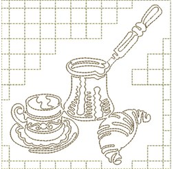 Coffee and Croissant embroidery design