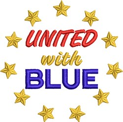 United With Blue embroidery design