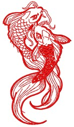 Pair of Koi embroidery design