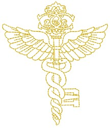 Caduceus embroidery design
