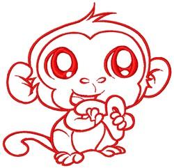 Monkey Eating Banana embroidery design