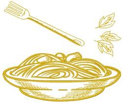 Spaghetti Pasta embroidery design