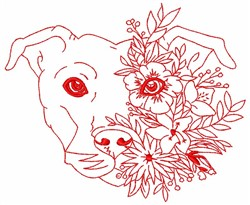Floral Pitbull embroidery design