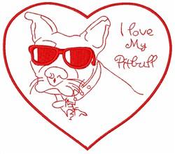 I Love My Pitbull embroidery design