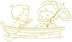 Couple In Boat embroidery design